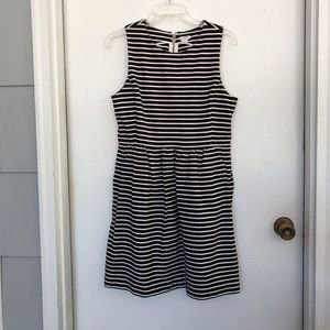 J Crew black and white striped jersey dress M